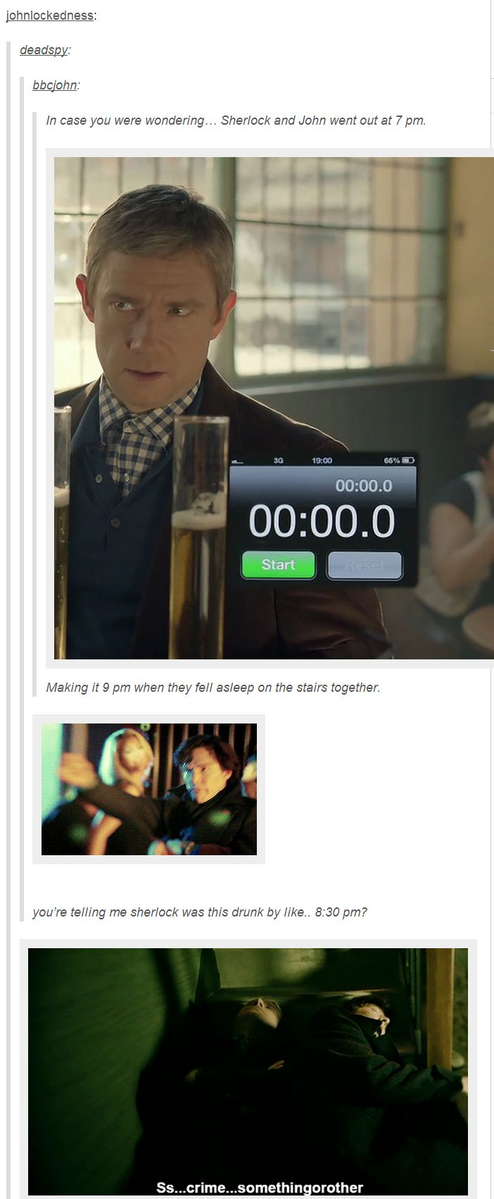 Sherlock and John are lightweights <-- I'd still wanna party with them :) Sure. They're fun drunks.