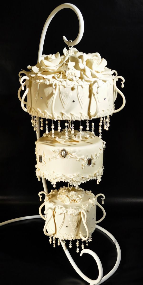 Chandelier wedding cake by Judy's Cakes