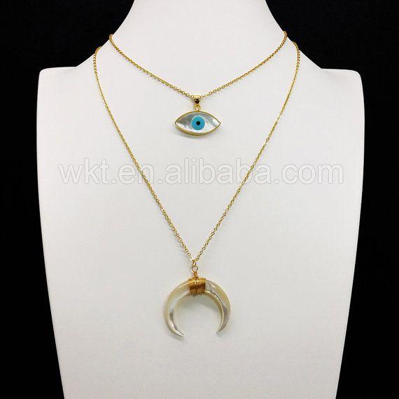 WT-N672 Kette Choker Halskette, Mode bösen Blick Charm Halskette, Perle Halbmond…