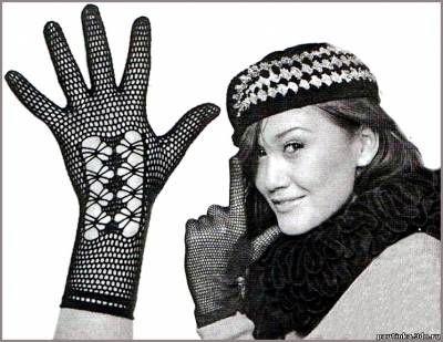 Кружевные перчатки. Ажурное вязание крючком. - Схемы вязания перчаток - Схемы для вязания - Уроки вязания крючком - Вязание крючком, схемы для вязания крючком