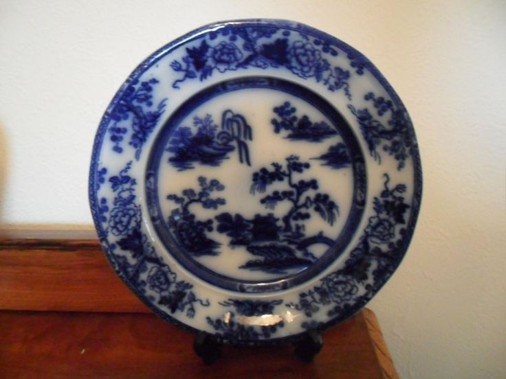 ANTIQUE RIDGWAY FLOW BLUE PENANG PATTERN PLATE #PLATES