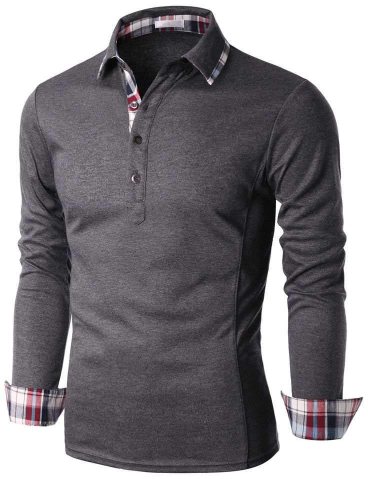 Doublju Men's Check Trimmed Long Sleeve Jersey Polo T-shirt (KMTTL0146) #doublju