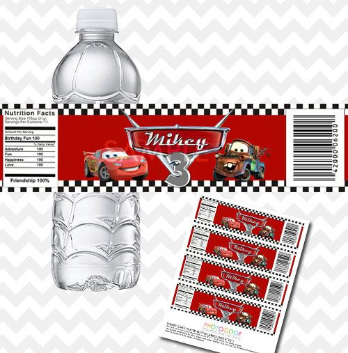 disney cars water bottle labels  custom birthday