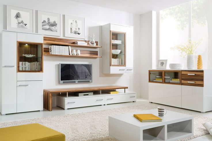 High white gloss Entertainment center DOLOMIT (5 piece set)