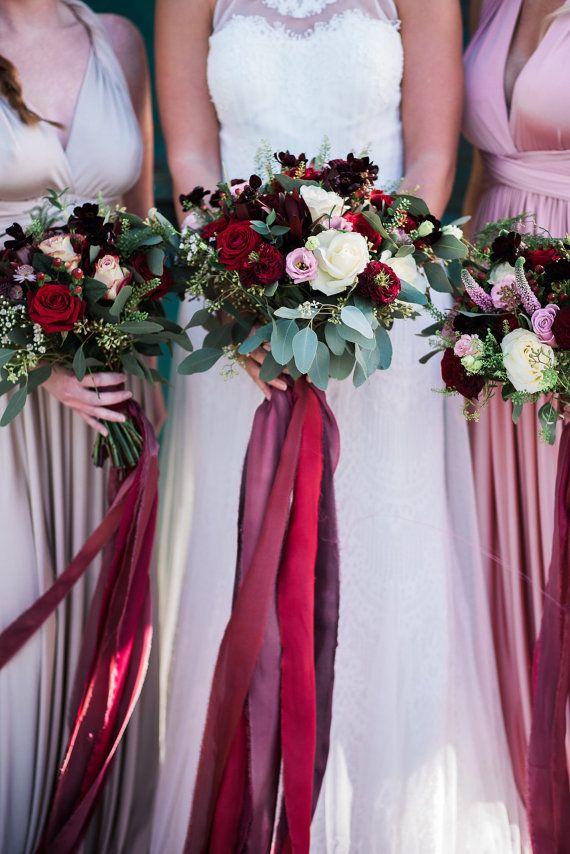 Burgundy Silk chiffon satin ribbon bundle by pompomblossom