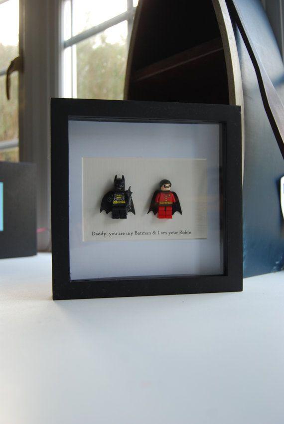 Papa Birthday Gift Batman & Robin superheld Lego gepersonaliseerd huidige Frame verjaardag cadeau Wall Art vak foto Lego replica Minifiguren