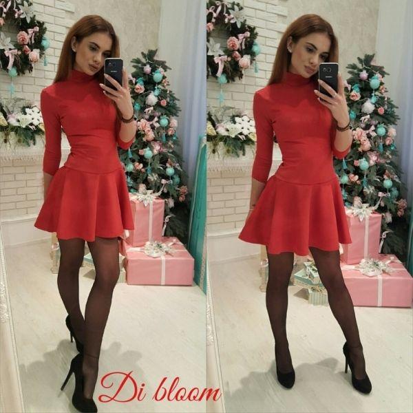Платье шикарное гольф юбка клеш замшевое молодежное красный
