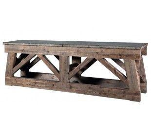 Sideboard med marmortop 254 x 55 cm - Eg/Marmor
