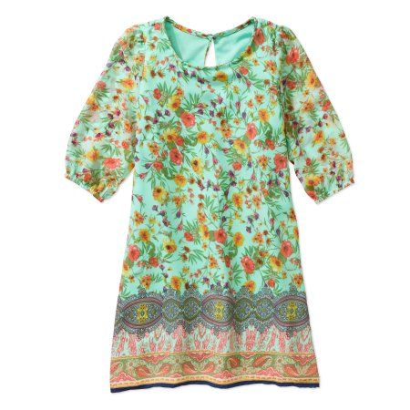 Emeralds and Peppermints Girls' 3/4 Sleeve Floral Chiffon Dress, Size: 12, Multicolor