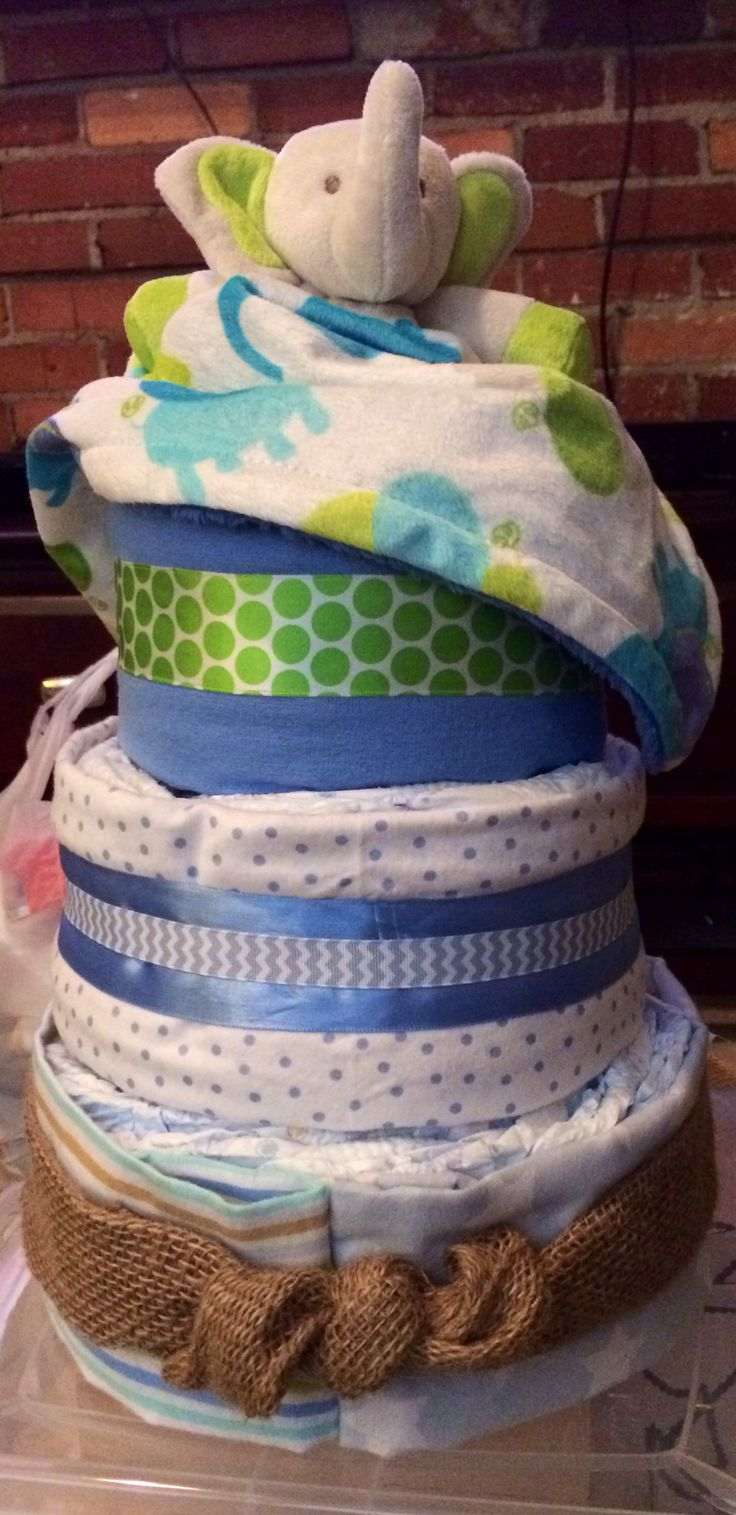 Diaper cake for baby boy