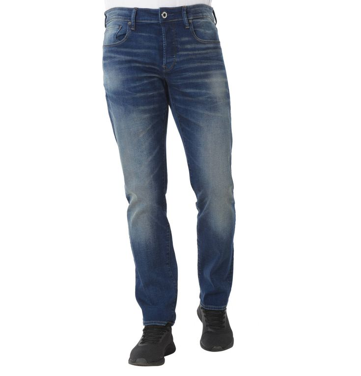 Jeans, Straight Fit, Used-Look, Logo-Patch
