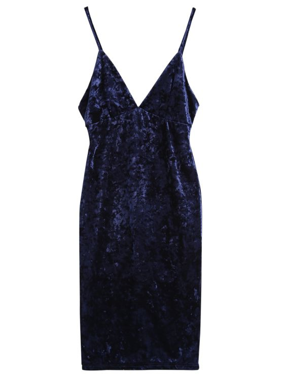 Midi Crushed Velvet Bodycon Dress - PURPLISH BLUE XL