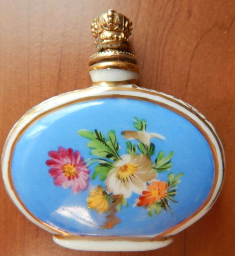 Dresden Scent Bottle Art Deco Germany 1930's Blue Floral Crown Stopper | eBay