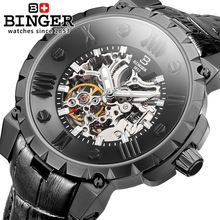 Genuine Swiss BINGER Brand Men hollow automatic mechanical watches leather strap full steel sapphire waterproof free shipping(China (Mainland))