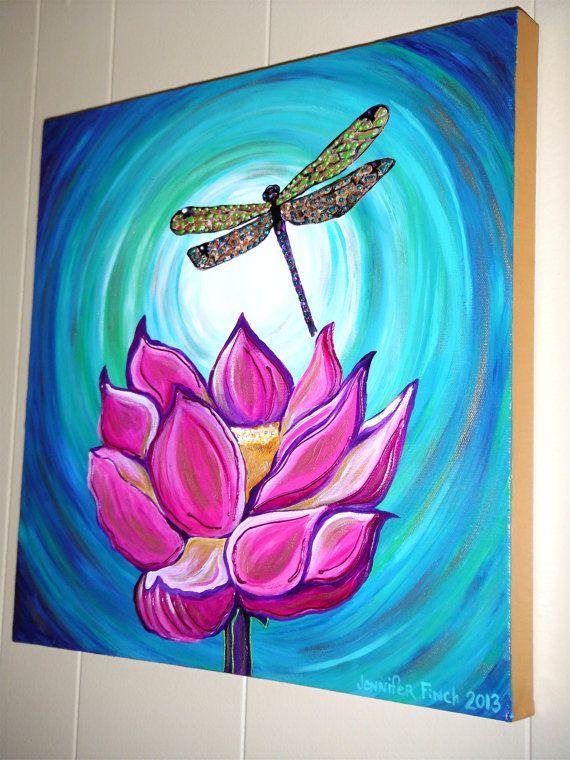 Lotus Be Free....Original Acrylic 18x18 Canvas Painting Jennifer Finch 2013 Glossy Lotus Hot Pink Dragonfly Zen $50.00