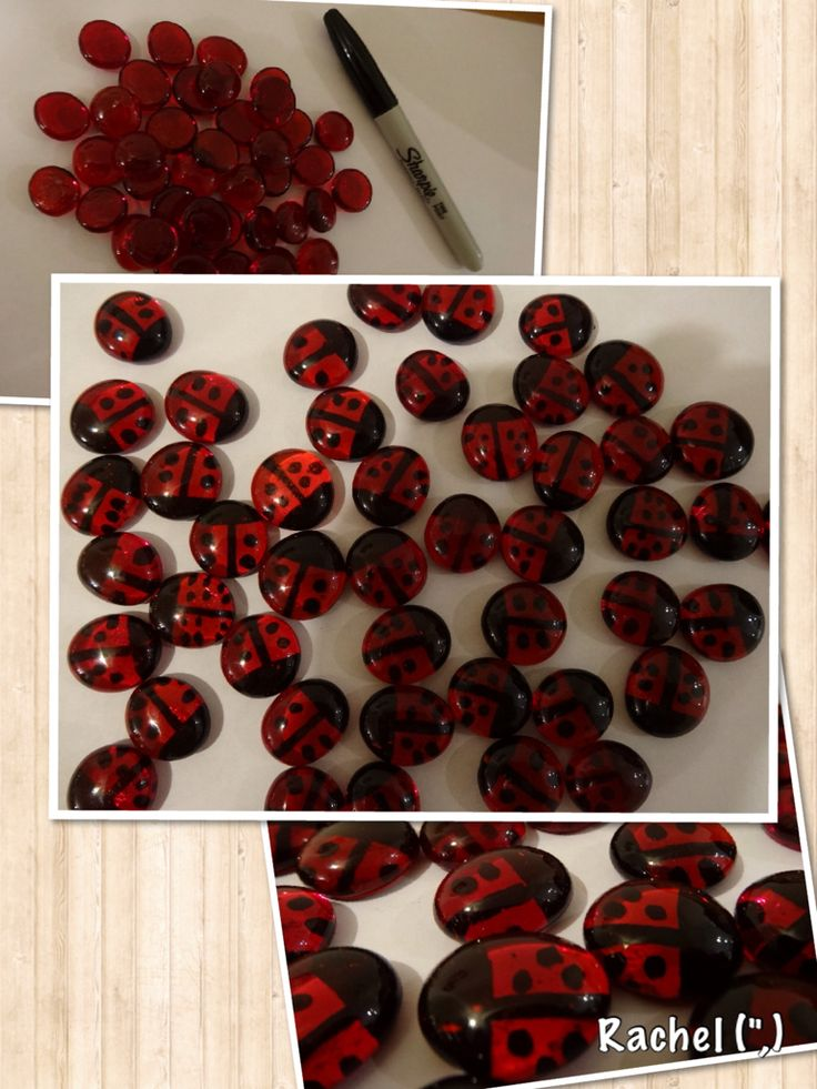 """Glass Nugget Ladybirds - originally made for counting, but used in other ways too - from Rachel ("""",)"""