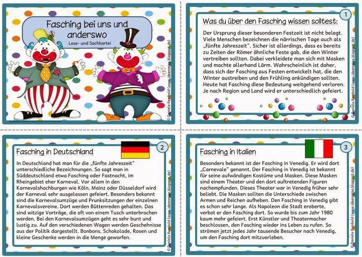 """Minikartei """"Fasching bei uns und anderswo"""" in geänderter Form    Daniela und einige andere Besucherinnen meiner Seite haben sich die Kartei..."""