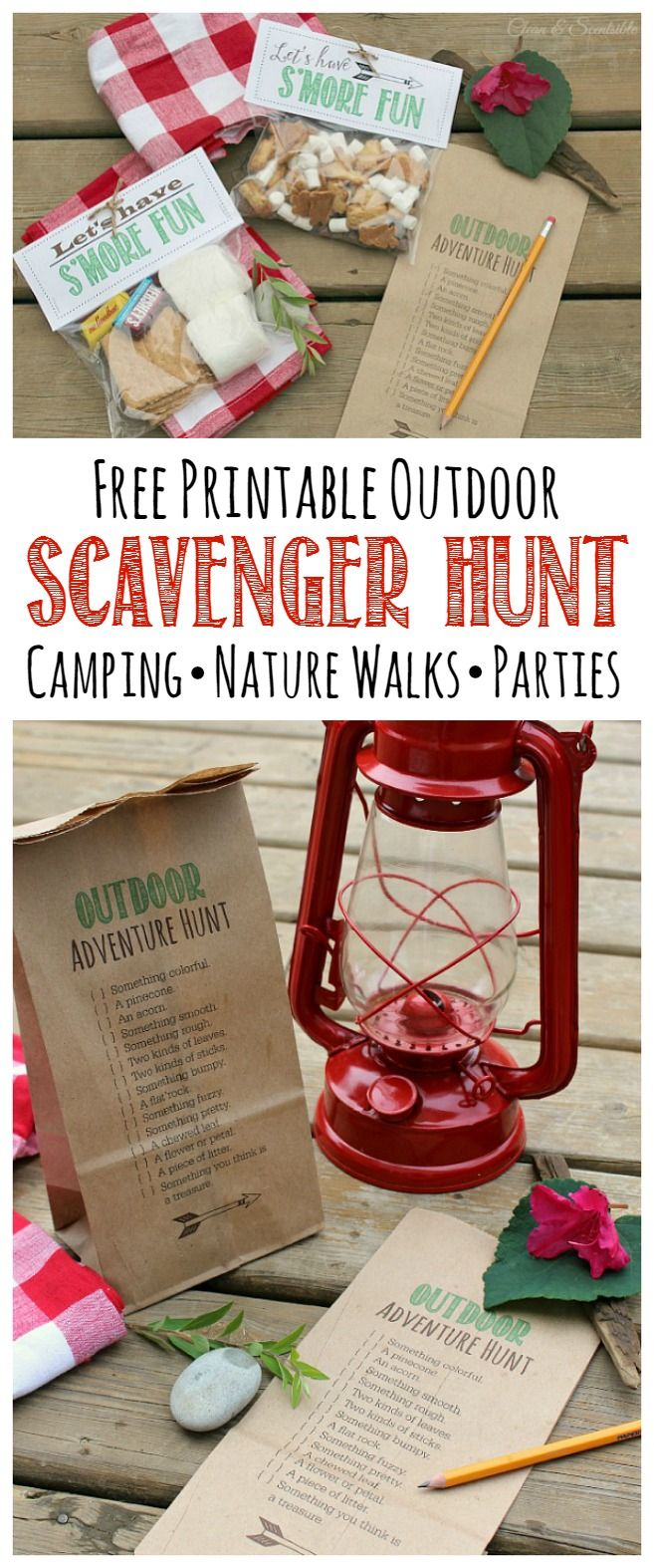 Free printable outdoor scavenger hunt. Print this directly onto a paper bag so your kiddos have somewhere to collect all of their goodies! Perfect for camping, nature walks, and camping parties!