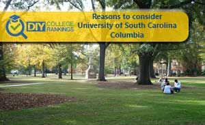 Reasons to consider University of South Carolina-Columbia: Lancaster Honors Program Magellan Scholar Program Emerging Leaders Program Center for Electrochemical Engineering Solid Oxide Fuel Center of Excellence Culinary and Wine Institute at Carolina College Sport Research Institute Center for Digital Humanities International Tourism Research Center Hazards and Vulnerability Research Institute Institute for Marine and Coastal Sciences Polymer Nanocomposites Research Center of Econom