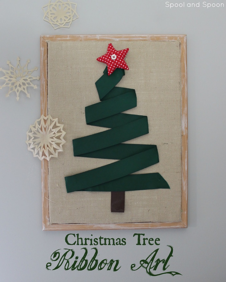 Wall Decorations With Ribbon : Huge christmas tree wall art made out of a large cork