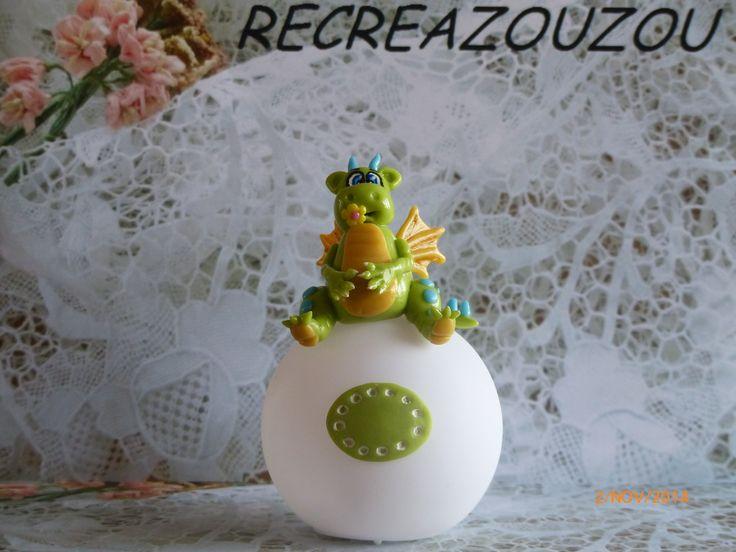 veilleuse à led décorée d'un dragon en porcelaine froide fait main : Luminaires par recreazouzou
