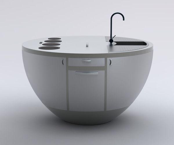 Kompakte Küche Halb Kugel-Einbau Schrank
