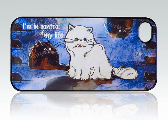 Funny White Cat iPhone 4 case iPhone 4s case  by HappyStripedCats