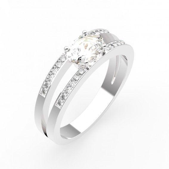 Bague CASSANDRA Or blanc 18 cts, Quartz et Diamants - Maison Gemmyo