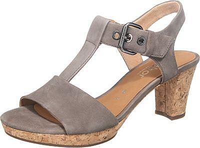 Diese Gabor Sandaletten sind feminine Klassiker aus geschmeidigem Echtleder. Ein solider Riemen gibt dem Fuß optimalen Halt und besitzt einen praktischen Stretcheinsatz an der Schuhinnenseite.  - Verschluss: Schnalle - Absatzart: Block - Absatzhöhe: 4,5 cm - profilierte Laufsohle - Schuhweite: G  Obermaterial: Leder (Veloursleder) Futter: Leder Decksohle: Leder Laufsohle: Sonstiges Material (Gu...