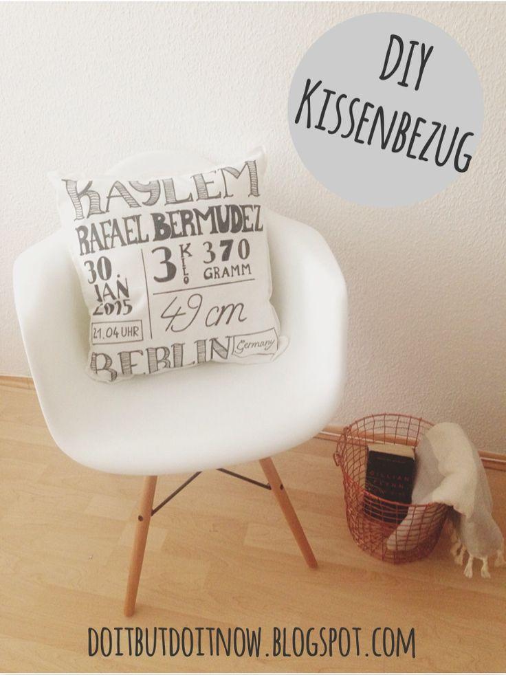 DIY Kissenbezug [ Geschenk zur Geburt ] Bemalt mit einem Textilstift +++ Schrift und Design by Claudetta +++