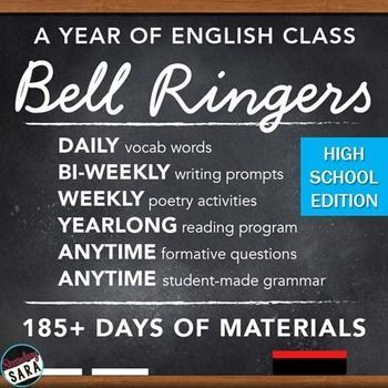 $ - Bell-Ringers & Programs Bundle for HIGH School English: includes a YEAR of materials for grammar, vocab, independent reading, and more!