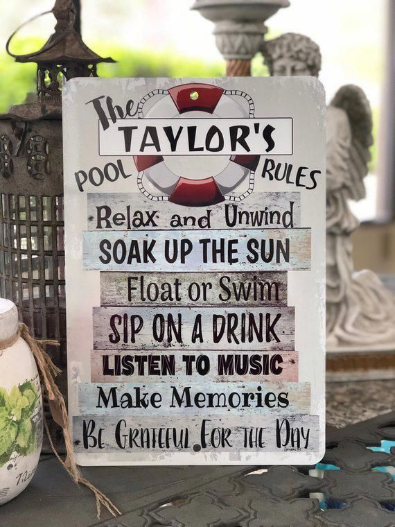Personalized Pool Rules Metal Sign Beach Decor Home Decor Outdoor Decor Custom Sign Pool Outdoorbeachsigns Personalized Pool Pool Decor Pool Signs