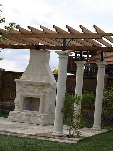 Garden pergola with stucco and Austin Stone, Fireplace, Raised Hearth adds seating for an outdoor living adventure for the entire family.  We love gatherings all year and having an outside element for Holiday Family Reunions, Football Game Parties, W {Watch this | Check this out | Look at this | This is butyful | Awesome stuff