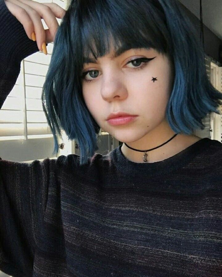 Blue Hair Aesthetic Bluehair Dye Short Bangs With Images