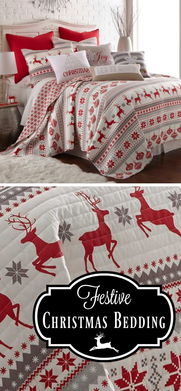 Oooh, love this Christmas bedding! I would love to put this in our guest bedroom and/or the master bedroom. So festive! #christmasdecor #christmasbedding #reindeer #festivebedding #affiliate