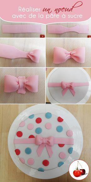 Birthday cake avec décorations en pâte à sucre (comment faire le noeud !)