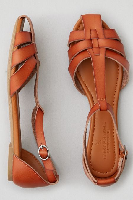 AEO T-Strap Flat Sandal , Wine | American Eagle Outfitters