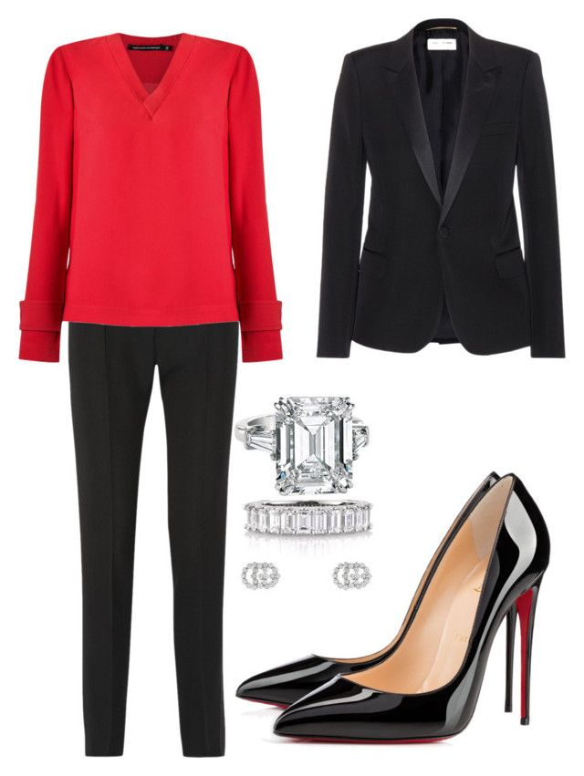 """""""Lawyer 1"""" by distressqn on Polyvore featuring PALLAS, Reinaldo Lourenço, Christian Louboutin, Yves Saint Laurent, Mark Broumand and Gucci"""
