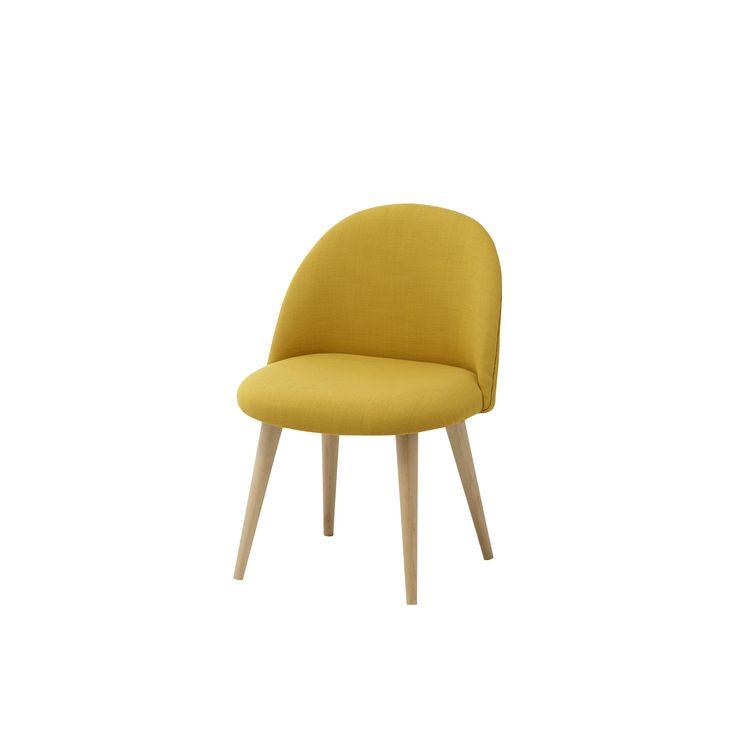 Chaise vintage enfant en tissu et bouleau massif jaune Mauricette
