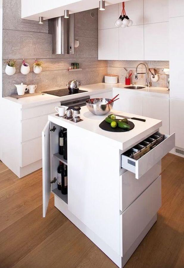 Cocina con isla integrada / 8 cocinas muy bien aprovechadas #hogarhabitissimo
