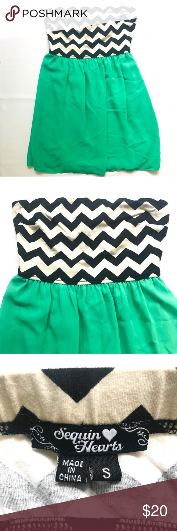 Cute chevron top with teal flowy skirt dress Cute chevron top with teal flowy skirt junior dress with cutout in the back. Sequin Hearts Dresses Strapless