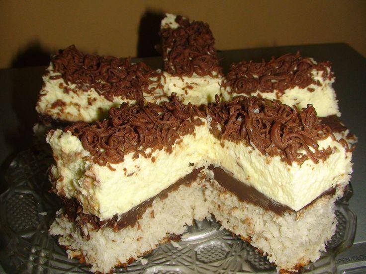 Reteta Prajitura cu nuca de cocos, ciocolata si crema - Prajituri