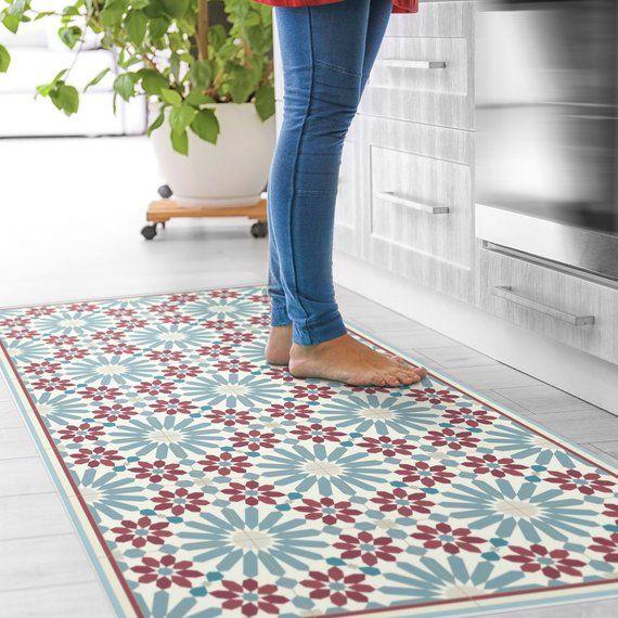 Vinyl Floor Mat With Moroccan Tiles In Blue And Red Linoleum Style Rug With Zellige Design Vinyl K Vinyl Floor Mat Vinyl Flooring Vinyl Flooring Kitchen