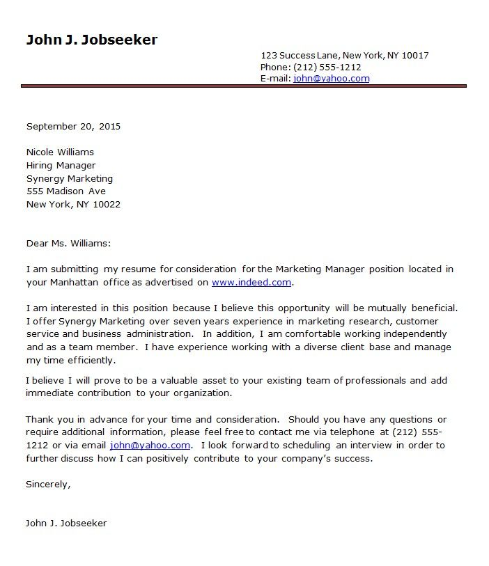 Resume Cover Letter Format Sample