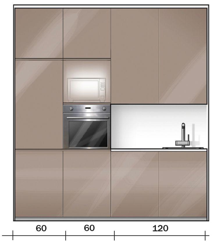 ZONA COTTURA La parte della composizione appoggiata alla parete, lunga 240 cm, è formata da quattro elementi da 60 cm ciascuno: la colonna con il frigo e il congelatore, quella con il forno e il microonde e due basi con pensili. Nel top è incassato il lavello a una sola vasca, con spazio di fianco utilizzabile per appoggiare le stoviglie.