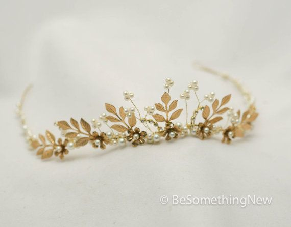 Gold wedding tiara. This golden wedding crown made with gold metal leaves, and small gold flowers and wired pearls. I also wired in some small