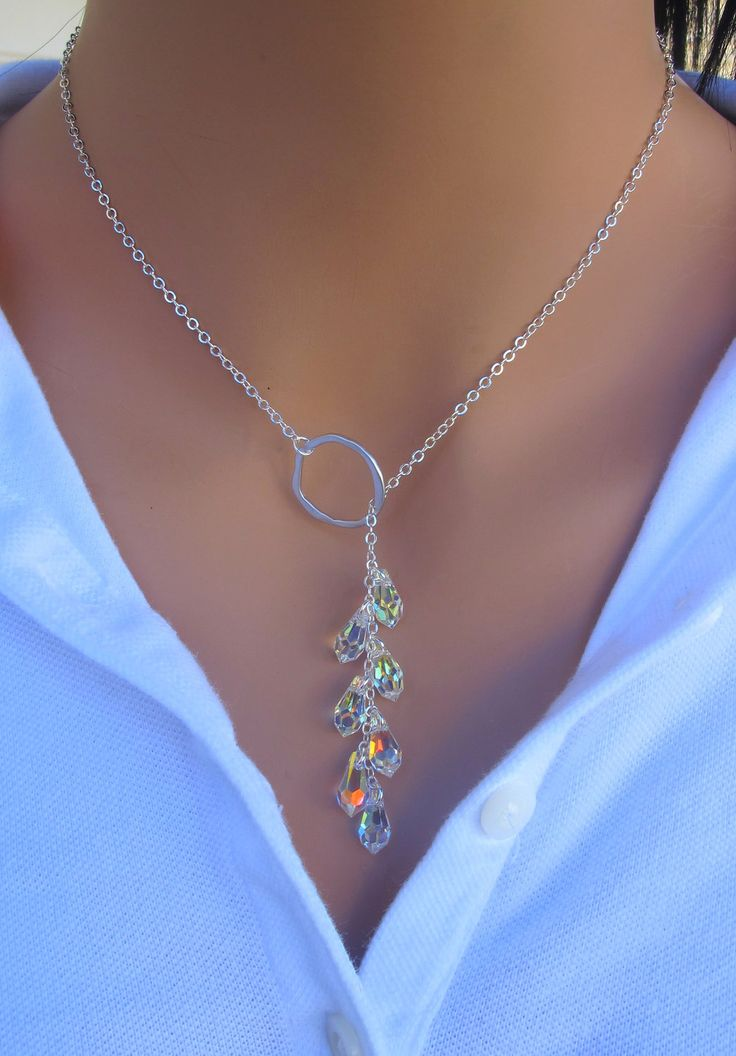 Crystal Lariat Necklace in STERLING SILVER.