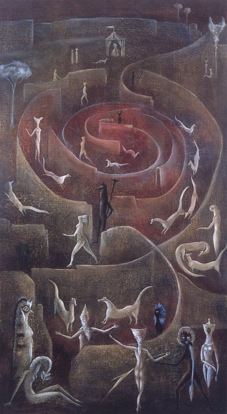 What do you see here? I see visitors in a rosebud. (art:: Leonora Carrington)