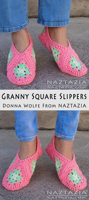 Crochet Granny Square Slippers - DIY Free Pattern and YouTube Tutorial Video by Donna Wolfe from Naztazia
