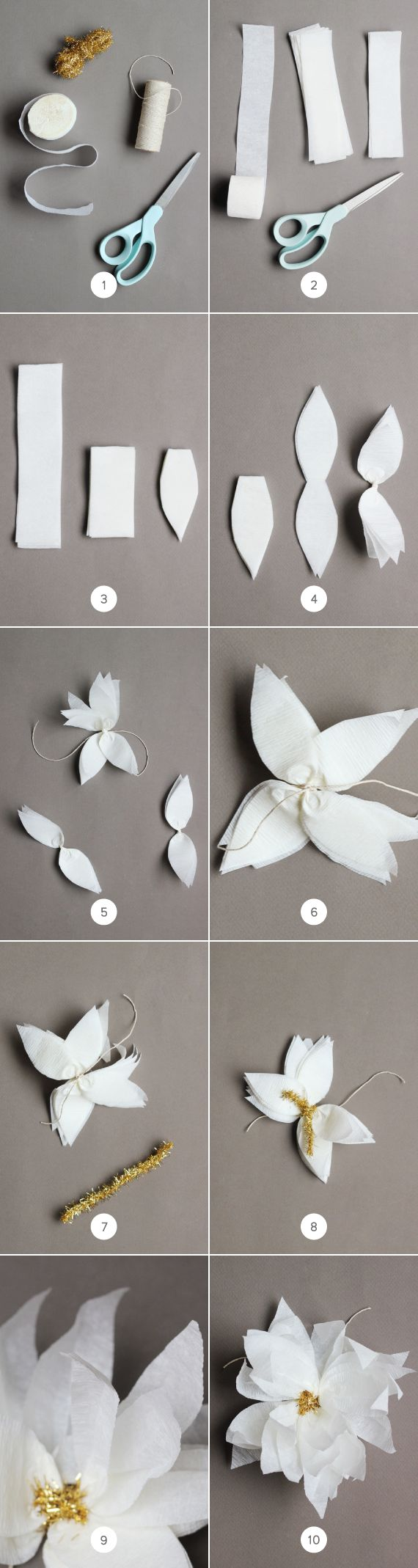 DIY Crepe Paper Poinsettia Gift Toppers.